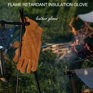 Naturehike outdoor camping picnic cow split leather High temperature resistant Flame Retardant Insulation Gloves